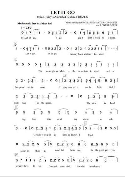 冰雪奇缘完整版钢琴谱简谱分享图片
